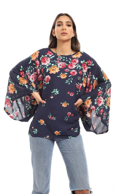 57919 Round Neck Loose Fit Floral Blouse - Navy Blue