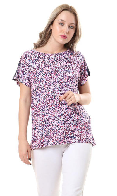 57949 Colorful Short Sleeves Crew Neck Rayon Top - Ravin