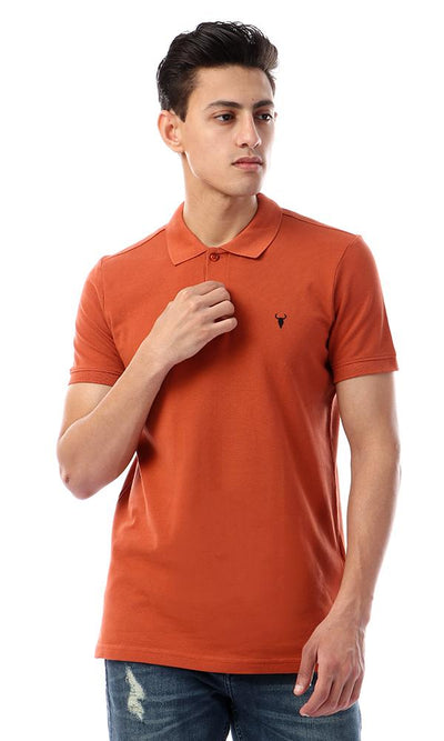 57967 Basic Turn Down Collar Pique Polo Shirt - Burnt Orange - Ravin