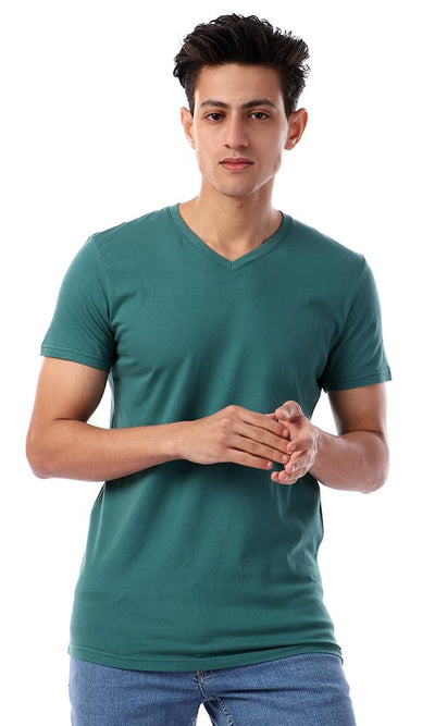 57985 V-Neck Basic Half Sleeves T-Shirt - Deep Sea Green - Ravin