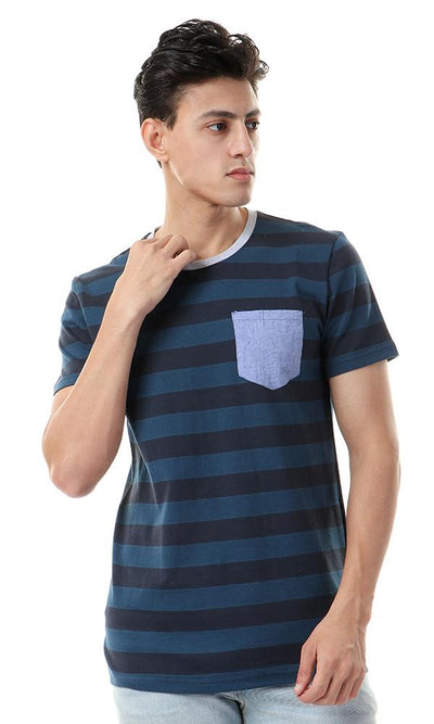 57989 Casual Striped With Front Pocket Tee - Navy Blue & Teal - Ravin