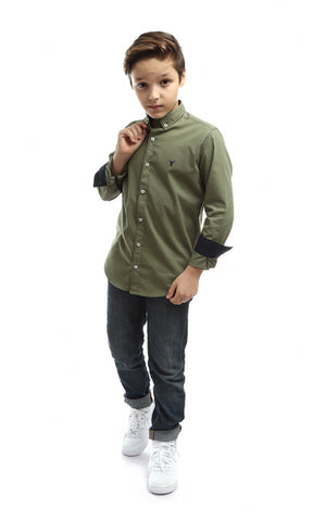 90037 Sleeved Sleeved Shirt-Oالزيتون