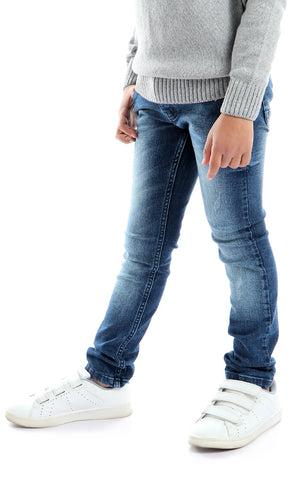 90048 5 Pocket Mild Wash Navy Blue Jeans