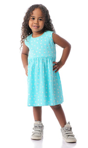 90069 Girls Polka Dots Sleeveless Dress - Aqua