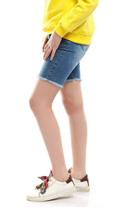 90110 Fringed Legs Light Blue Shorts