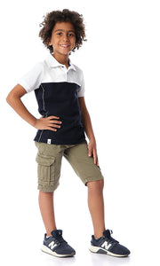 90527 Boys Navy Blue & White Buttoned Polo Shirt