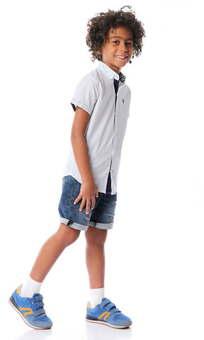 90548 Boys Elegant Solid Short Sleeve White Shirt