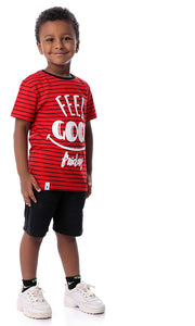 "90574 Boys ""Feel Good"" Printed Tee Red"