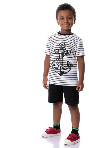 90575 Boys Striped Anchor White Tee