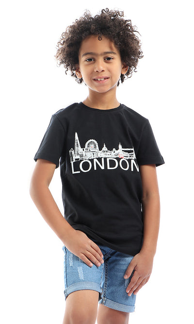 90577 Boys London Printed Black Tee