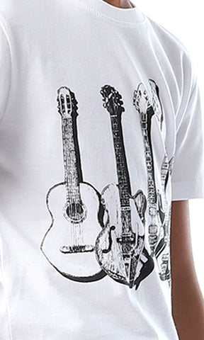 90580 Boys Guitter White Printed Tee