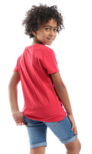 90586 Boy Round Slip On T-Shirt With Front Pocket - Heather Red