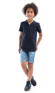 90597 Boys Simple Short Sleeves Navy Blue Henely T-Shirt