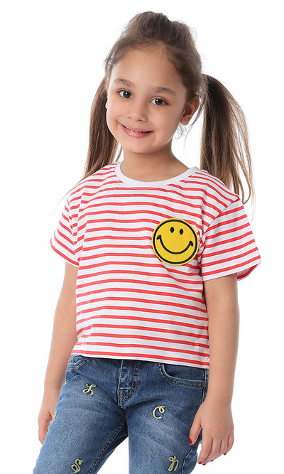 90654 Girls Striped Smiley White & Red Cropped Tee