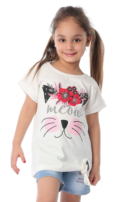 90655 Girls Meow Half Sleeves Tee Off White