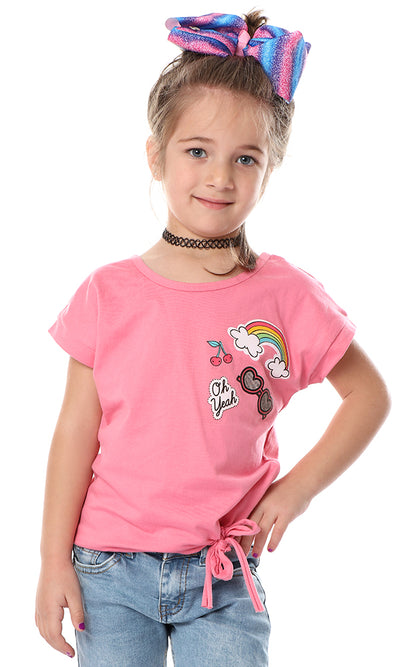 90656 Girls Eye-Candy Printed Rose Tee