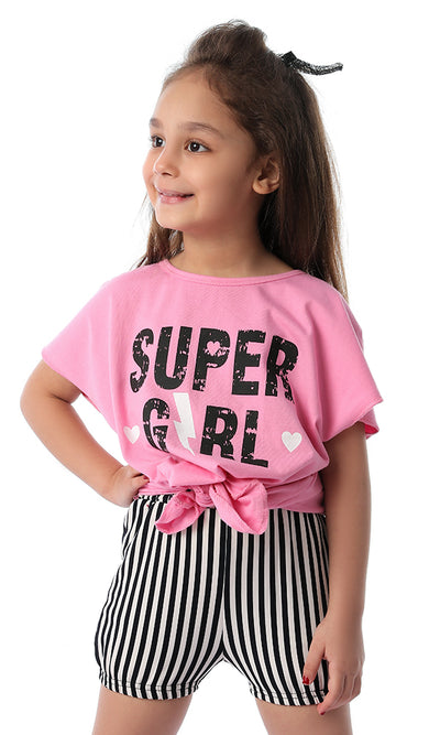 90658 Super Girls Back Lace Up Pink Tee