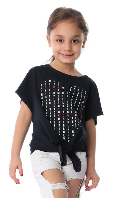 90659 Girls Alphabatic Printed Heart Navy Blue Tee