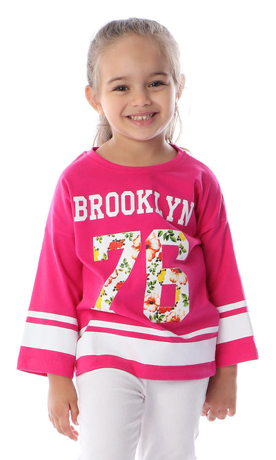 90664 Girls Brooklyn 70 Floral Printed Fuchsia Tee