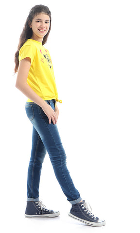 90667 Girls Front Tie Cool Yellow Top