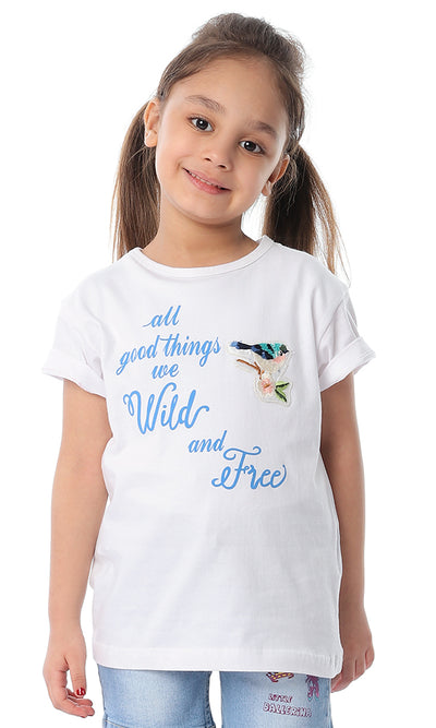 90670 Girls Wild & Free White Slip On Tee