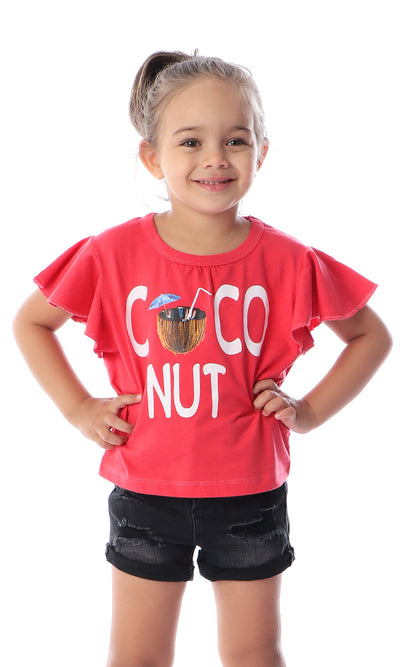 90671 Girls Flutter Sleeves COCONUT Coral Tee
