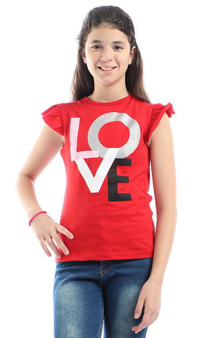 90672 Girls Love Hot Red Glittery Tee