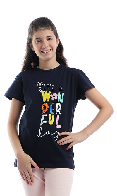 90674 Girls Colorful Printed Short Sleeves Navy Blue T-Shirt