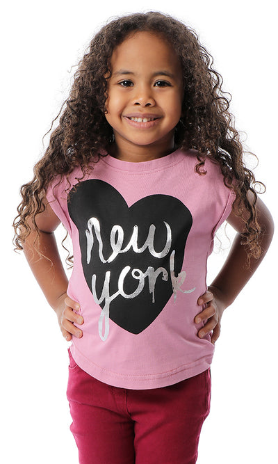 "90676 Girls Printed ""New York"" Cap Sleeves Cashmere T-shirt"
