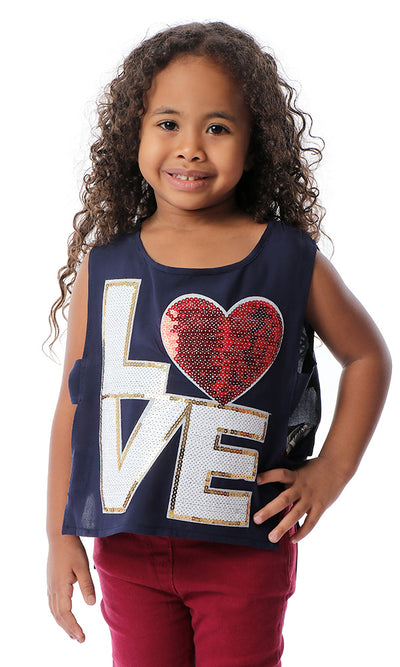 90679 Girls Sequins Love Navy Blue Opened Sides Top