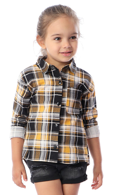 90694 Girls Check Buttoned Shirt Yellow & Black