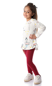90702 Girls Ballerina Peplum Cotton Tee Off White