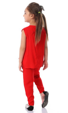 90712 Girls Hot Red Fashionable Salopette