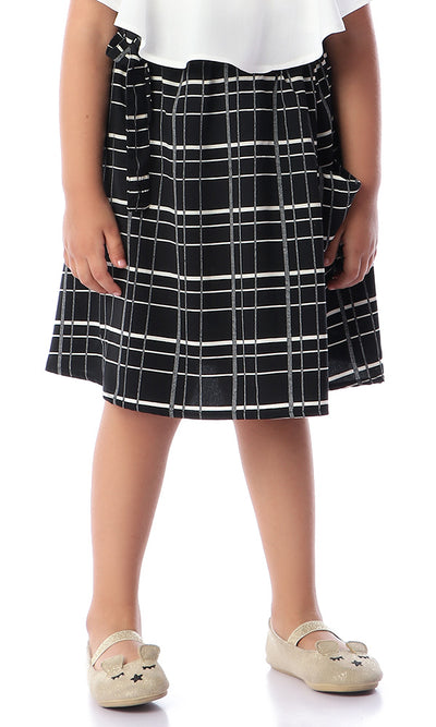 90722 Girls Patterned Cutie Skirt Black & Off White