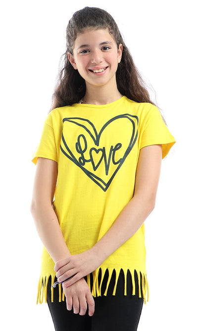90738 Fringed Neon Yellow T-Shirt