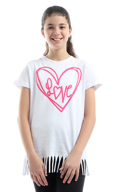 90739 Girls Fringed Short Sleeves Cute White Tee