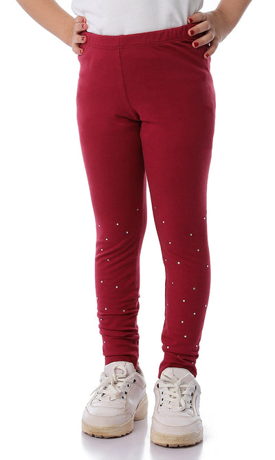 90750 Girls Cute Strass Tight Leggings Burgundy