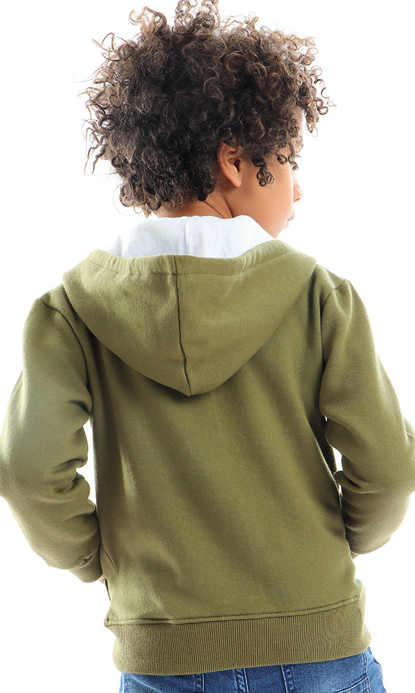 91061 Zipped Plain Olive Sweatshirt