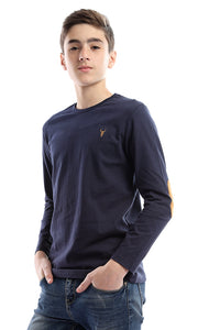 91065 Boys Logo Plain Round Neck Tee - Navy Blue