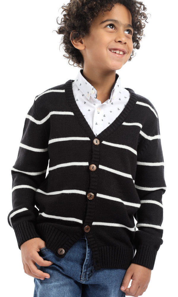 Stripe Buttoned Navy Blue Cardigan