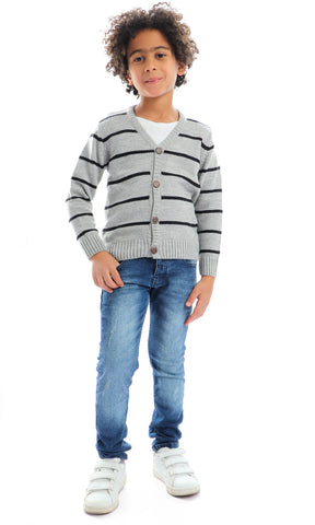 91082 V Neck Striped Grey Slub Cardigan