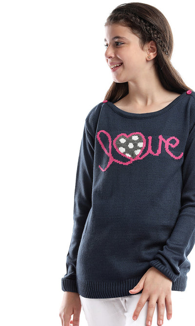 91103 Girl Love Buttoned Collar Long Sleeves Sweater - Navy Blue
