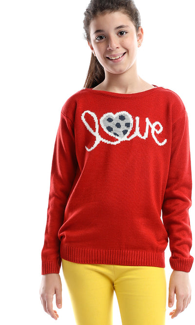 91106 Girl Love Buttoned Collar Long Sleeves Sweater - Bright Red