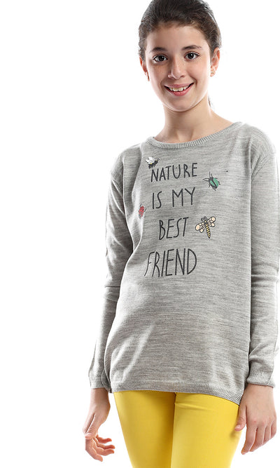 91110 Hit The Winter With Cozy Nature Is My Friend Girls Sweater - Light Grey