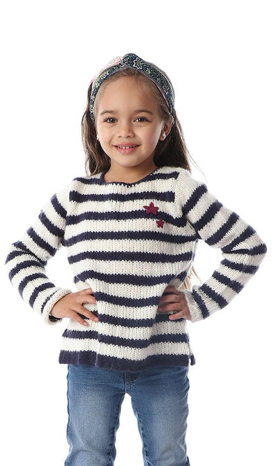 91549 Girl Soft Striped Knit Round Navy Blue & Off-White Pullover - Ravin