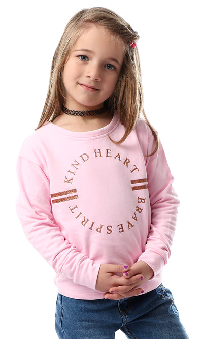 91566 Girls Glittery Printed Cute Tee Pink