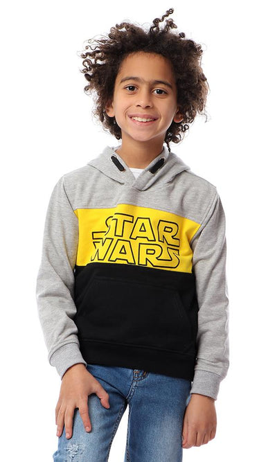 "91580 Boys ""Stars Wars"" Hooded Sweatshirt - Yellow , Grey & Black - Ravin"