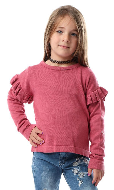 91584 Girls Pullover With Ruffles On Sleeves - Dusty Rose