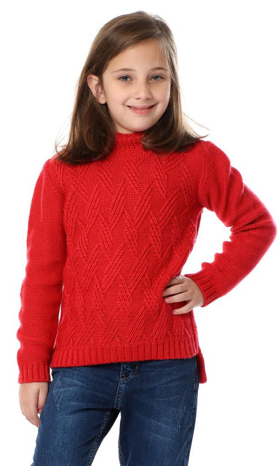 91587 Girls Knitted High Neck Watermelon Pullover - Ravin