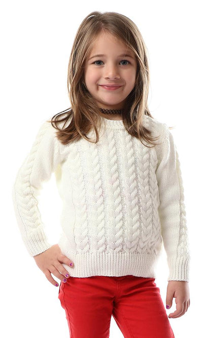 91593 Girls Knitted Round Neck Off-White Pullover - Ravin